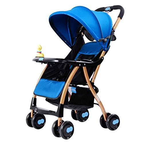 MINISU Säugling Kinderwagen, leicht faltbar, um auf Einem Kinderwagen zu sitzen, hoher Kinderwagen für Kinder, Neugeborenen-Stoßdämpfer-Kinderwagen Reise (Farbe : Blau)