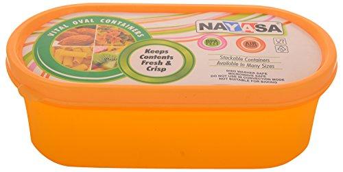 Nayasa Vital Oval Plastic Container, 3-Pieces, Orange