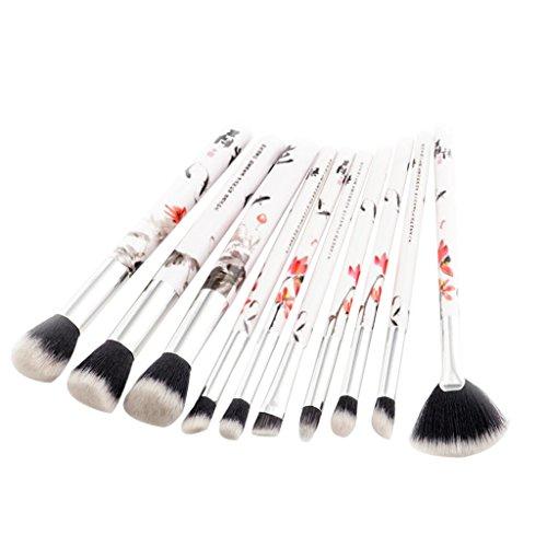 Sharplace 10pcs Pinceau de Maquillage Professionnel Brosse Cosmétique avec Dessin Fleur Mélageur Brush pour Fondation Contour Correcteur...