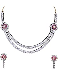 Ratnavali Jewels American Diamond CZ Gold Plated Designer Jewellery Set/Necklace Set Double Line With Chain &...