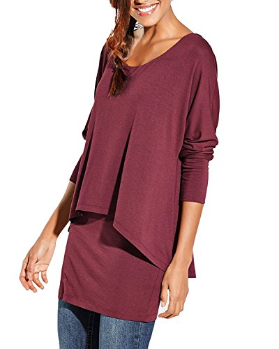 Uniquestyle Damen 2 in 1 Optik Langarmshirt Casual Tunkia Langarm Große Größen Longshirt Asymmetrisch Oberteil Top Shirt Winerot S