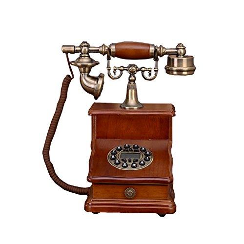 Health UK Telephone- Telefon Old Solid Wood Blue Screen Freisprecheinrichtung Taste Antikes Retro Dial Phone Chinesisch Home Festnetz Office Festnetz Tischtelefon mit Aufbewahrungsbox Welcome (Schnurgebundene Freisprecheinrichtung, Anrufer-id)