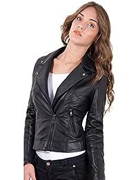 D'Arienzo - KBC • colore nero • giacca biker in pelle nappa effetto liscio
