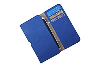 ATV PU Leather STEEL BLUE Pouch Case Flip Cover For XOLO Q500