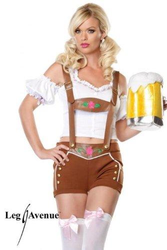 Leg Avenue - Little Miss Lederhosen Kostüm 2-teilig - 83523, Farbe:Braun/Weiss;Groesse:XS