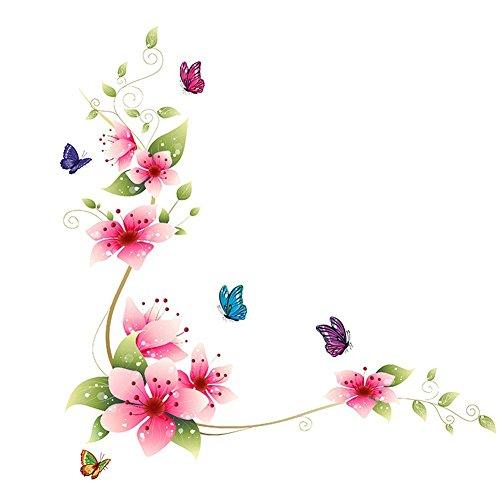 yibenwanligod Mode Wandtattoo Dekorative Glas Badezimmer Fliesen Aufkleber Blumen Und Schmetterlinge Muster - Dekorative Glas-fliese