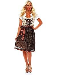 10592 Fashion4Young Damen Dirndl 3 tlg.Trachtenkleid Kleid Mini Bluse Schürze Trachten Oktoberfest