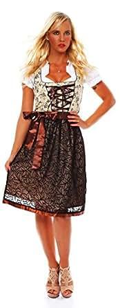 10592 Fashion4Young Damen Dirndl 3 tlg.Trachtenkleid Kleid Mini Bluse Schürze Trachten Oktoberfest (34, Braun Beige Weiß)