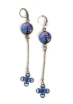 Boucles d'oreilles pendantes, cabochon arbre de vie bleu, petit pois
