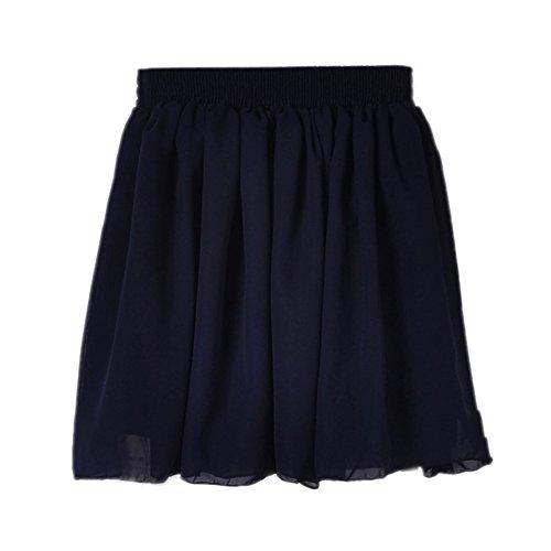 Honeystore Damen Frauen Mini Rock Ausgestelltes Kleid A-Linie Chiffon Faltenrock Dunkelblau