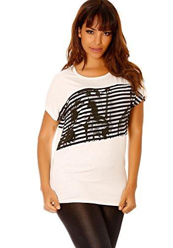 dmarkevous - Tee-shirt effet manche chauve-souris et à imprimés Blanc