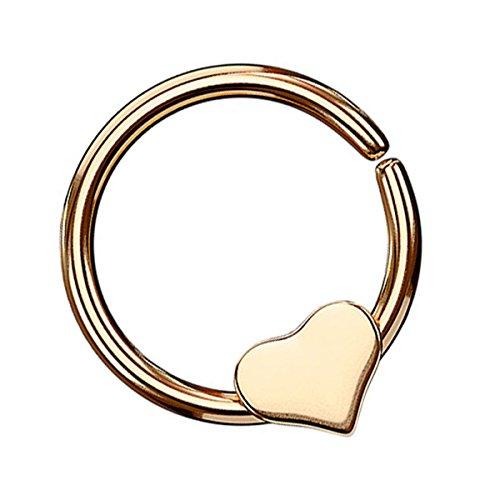 Piersando Continuous Piercing mit beweglichem Herz Fake Hoop Ring für Septum Ohr Tragus Helix Nase Lippe Ohr Nasenpiercing Nasenring Rosegold 1,0mm x 8mm