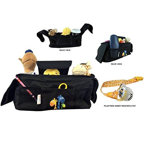 Kinderwagentasche, Buggy Organizer mit Schnullerband | wasserdichte Babytasche mit zwei isolierten Getränkehaltern, einer große Tasche und drei Zusatztaschen | Befestigung über Klettverschluss-Riemen (Große Kinder Kinderwagen)