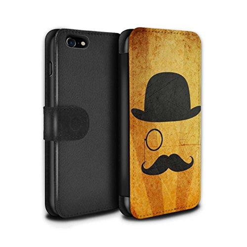 Stuff4 Coque/Etui/Housse Cuir PU Case/Cover pour Apple iPhone 7 / Pack 5pcs Design / Rétro Moustache Collection Melon/Monocle