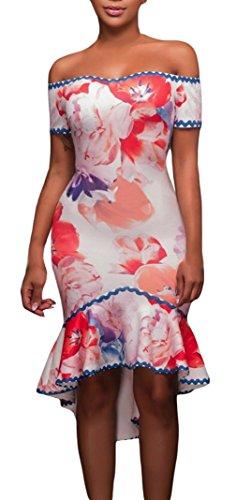 Lukis Damen Fishtail Abendkleid Schulterfrei Partykleider Pink