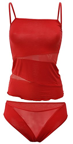 DKaren-Nachtwäsche Damen Wäsche Set aus Viskose XENIA (rot, 2XL)