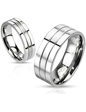 Paula & Fritz® Ring aus Edelstahl Chirurgenstahl 316L 8mm breit Zwei Rillen mittig gebürstet verfügbare Ringgrößen...