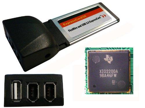 Festplatte Fw800-externe (Kalea-Informatique© Express-Karte (ExpressCard 34mm)–1Port USB2.0+ 2Ports Firewire IEEE1394a–Chipsatz TI XIO2200A–Texas Instruments)