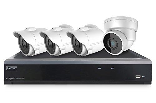 DIGITUS DN-16121 Full HD Hybrid Netzwerk Video Rekorder Kit, 3 x Bullet, 1 x Dome Kamera, 4 Kanal AHD, 2 Kanall IP, W, 12 V, Ja, 16 Stück