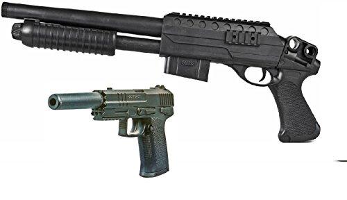 Softair-Gewehr Pumgun XY und MGOR Softair-Pistole inkl. Schalldämpfer 6 mm schwarz Federdruck ABS ab 14 Jahre unter 0,5 Joule für Einsteiger Kinder-Pistole Kinder-Gewehr Spielzeug-Pistole Spielzeug-Gewehr Air-Soft (Bis Kinder 12 Pistolen Airsoft Und Für)