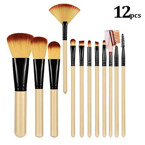 Brochas De Maquillaje 12 Piezas con estuche,  ZoneYan set de brochas de maquillaje rostr,  Pincel de maquillaje de viaje(Beige)