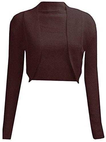 Janisramone Les Femmes Manchon tricoté Longue Plaine Bolero Cardigan Haussement de Haut Janisramone