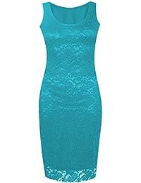Lush Clothing C8-Floral Lace Bodycon Sleeveless Long Ladies Womens Midi Dress-Uk Size - Turquoise - Uk 16-18
