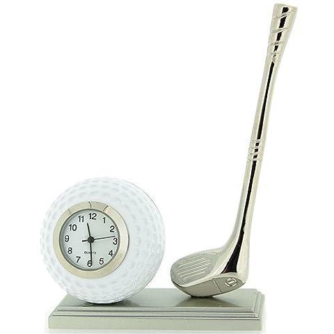 Novelty Minatur Sammleruhr, Golfball & Schäger Schreibtischuhr, 0370