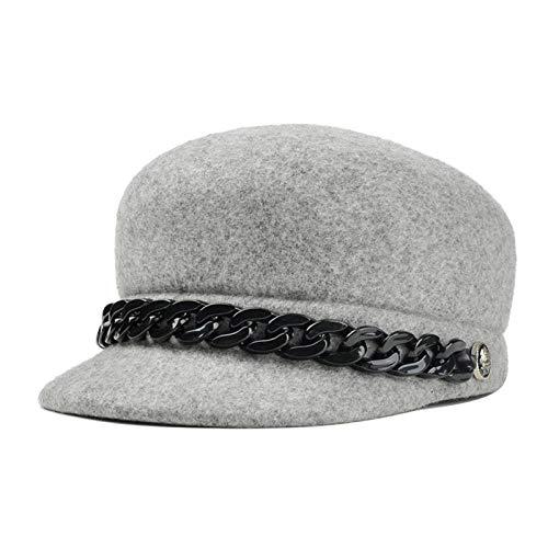 yuange Reitsport Mütze Wollritter Hut Kette Hut Männer und Frauen Hut, grau, M (56-58cm)
