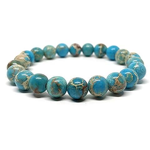 GOOD.designs Chakra Bead Bracelet made of natural Jasper stones (Turquoise)