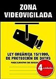 Lote (Pack) de 4 unidades   Pegatina Cartel Alarma ZONA VIDEOVIGILADA Disuasorio Aviso 15/1999-4 unidades