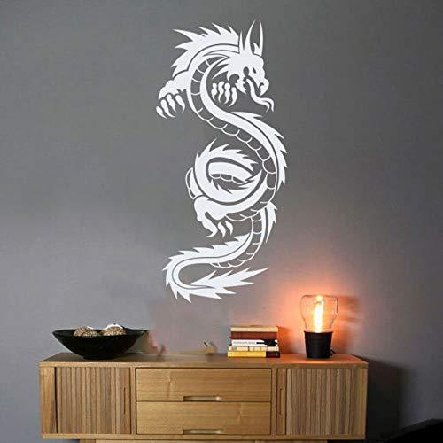 Chinesischen stil Drachen Vinyl Kunst Wandaufkleber Poster Wohnzimmer Dekoration Schlafzimmer Aufkleber Chinesischen Drachen Decor 57 * 122 cm - Drache Mit Der Flammen Liebe