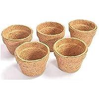 COIR GARDEN Coir Pot, Coco Basket Large Size Seedling Cups for Plants, 4 inch (10 cm) 5 Pieces