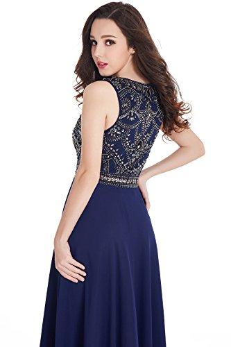 MisShow Damen Abendkleider Lang Ballkleider Ärmellos Chiffon Abikleider Lang 2017 Navyblau