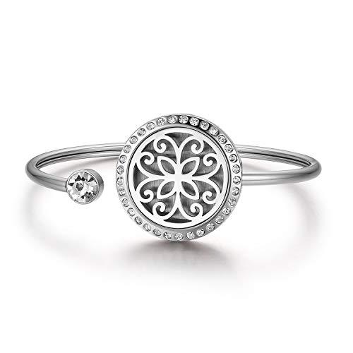 JewelryWe Schmuck Damen Armband Edelstahl Blumen Aromatherapie Diffusor ätherisches Öl Parfum Armreif, Silber (öl-schmuck ätherisches)