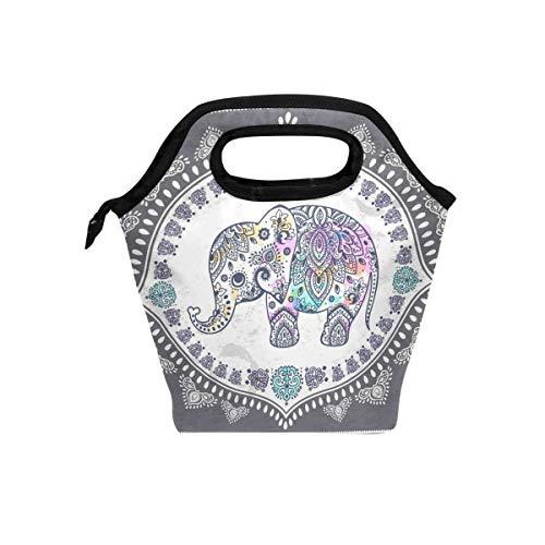 CPYang - Bolsa para el almuerzo, diseño de elefante indio con flores tribales, aislada, para la escuela, el trabajo, la oficina, el picnic