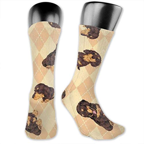 Dog Stock Photo Men's & Womens Athletic Full Crew Socks Running Gym Compression Foot