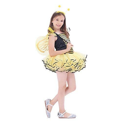 Kostüm für Kinder Mädchen, Feen Tutu Rock Ballett Kleider (Bee Kind Halloween Kostüme)