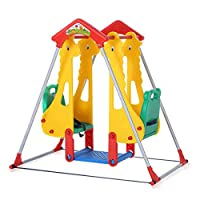 Baby Vivo Kids Swing Playground Children Play Area Garden with Double Swing for Outdoor and Indoor Zoo made of Plastic
