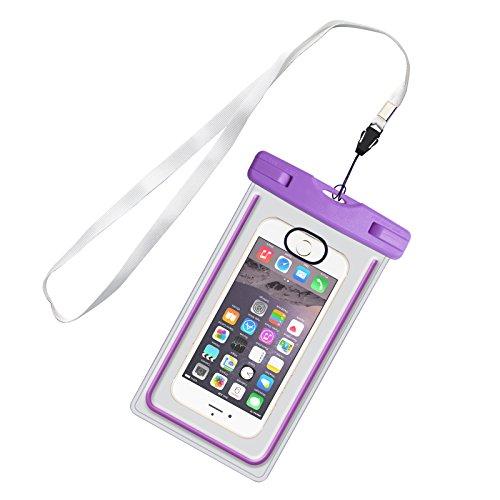 IWAMEE IPX8 Wasserdichte Hülle Schutzhülle handyhülle Universal-Tasche für iPhone 7/6/6S/6S Plus/SE/5S, Samsung Galaxy S7/S6 Note 5 /Huawei P8 und andere Android Smartphone bis zu 17,5cm Lila