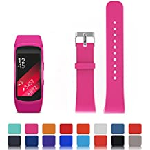 Para Samsung Gear Fit 2sm-r360Reemplazo Reloj Banda Correa–feskio accesorios suave silicona pulsera correa pulsera de reloj inteligente banda para Samsung Gear Fit 2sm-r360(tamaño pequeño o Grande), Rojo rosa