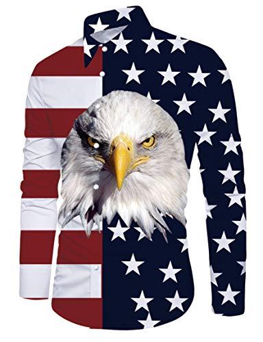 RAISEVERN Ameraican Flag Eagle Muster Button up Aloha Unisex Pop Langarm Umlegekragen Shirts (Button-up-hawaiian-t-shirt)