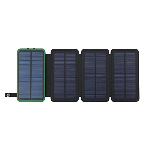 Solar Powerbank 10000mAh Faltbar Outdoor Solar Panel Ladegerät Dual USB Solar Batterie für Handy, iPhone, Samsung Galaxy ipad, Kamera (Grün+3 Panel)