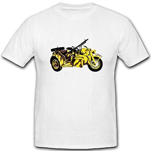 R75 Gespann Beiwagen Motorrad KS 750 Kradmelder WK 2 Bike Militär Wüstentarn - T Shirt #5078, Größe:Herren 4XL, Farbe:Weiß