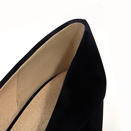 AllhqFashion Femme Tire à Talon Correct Suédé Couleur Unie Rond Chaussures Légeres Noir