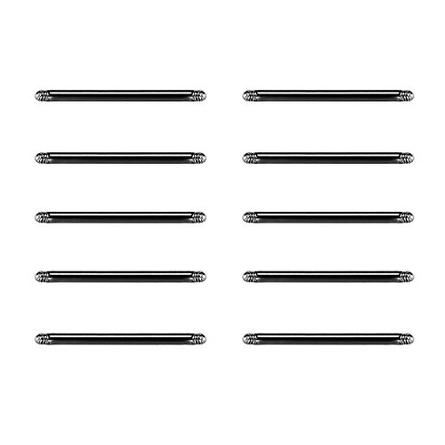 10er Piercing Stab Barbell 14mm Ersatz set zungenpiercing Stab 1,6mm Stärke 316L Chirurgenstahl -