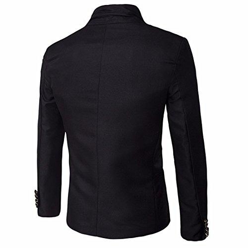 QIYUN.Z Col Montant Messieurs De Style Veste De Costume Manteau Court Blazer Des Hommes Noir