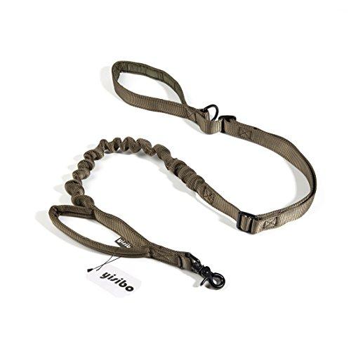yisibo Taktisch Hund Einstellbare Bungee Leine, Nylon Schnellspanner Ausbildung Gehen Führt Seil mit Kontrollgriff (Waldläufer-Grün) -