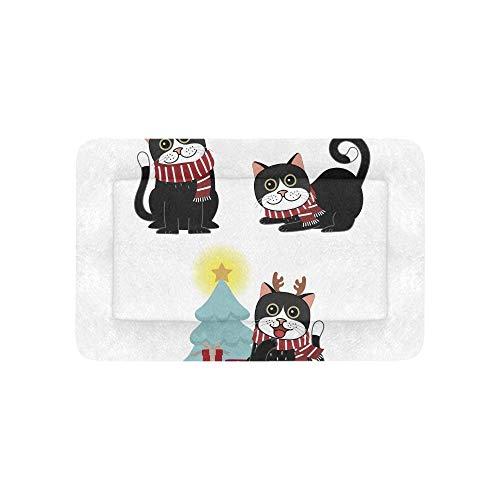 Enhusk Karikatur-Katze mit roten Geschenkkasten-Extra großen bedruckten Bettwäsche weichen Haustier-Hundebett-Couch für Welpen-und Katzen-Möbel-Matte - Cartoon Charakter Einfache Kostüm