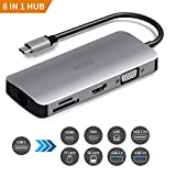 Enisina USB C Hub, 8 in 1 mit 4K HDMI Adapter, VGA, Ethernet Adapter, USB 3.0 x 2, Power Delivery Port, SD/TF Card Reader für MacBook Pro 2016/2017/2018, ChromeBook, XPS und weitere Geräte Type C